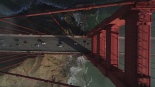 JDC02_023 - 5K stock footage aerial video of a bird's eye view over light traffic on iconic Golden Gate Bridge, San Francisco, California