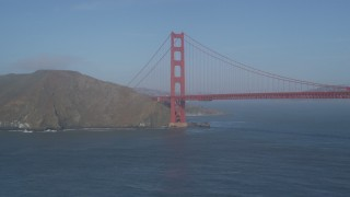 JDC02_035 - 5K stock footage aerial video of approaching the Marin side of the iconic Golden Gate Bridge, San Francisco, California