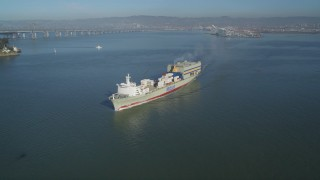 JDC02_041 - 5K stock footage aerial video of tracking a cargo ship sailing the San Francisco Bay, San Francisco, California