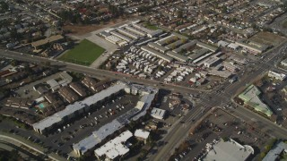JDC03_001 - 5K stock footage aerial video of flying away from suburban tract homes, San Leandro, California