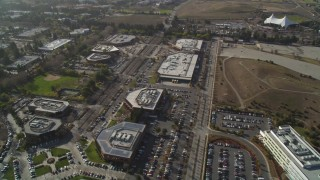 JDC03_011 - 5K stock footage aerial video of flying over office buildings and baseball field, Mountain View, California