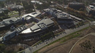 JDC03_014 - 5K stock footage aerial video of orbiting the Googleplex office complex, Mountain View, California