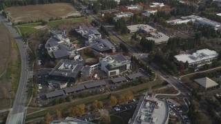 JDC03_018 - 5K stock footage aerial video of tilting to reveal office complexes, Googleplex buildings, Mountain View, California