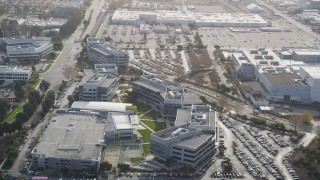 JDC03_024 - 5K stock footage aerial video of tilting from wetlands, reveal Yahoo! Campus office buildings, Sunnyvale, California