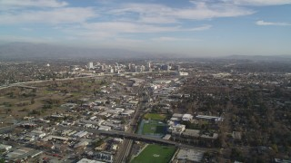 JDC04_001 - 5K stock footage aerial video of approaching Downtown San Jose, California