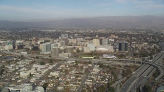 JDC04_005 - 5K stock footage aerial video of the city seen from Highway 87/Interstate 280 freeway interchange, Downtown San Jose, California