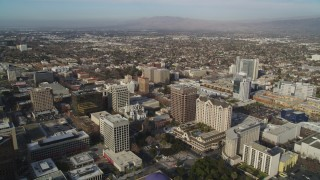 JDC04_008 - 5K stock footage aerial video of flying over the city, approaching San Jose City Hall, Downtown San Jose, California