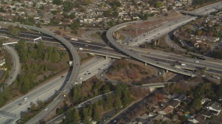JDC04_011 - 5K stock footage aerial video of flying by Highway 87/Interstate 280 freeway interchange, Downtown San Jose, California