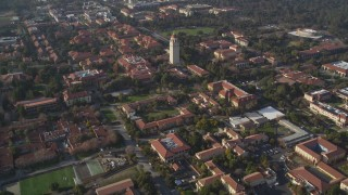 JDC04_021 - 5K stock footage aerial video of tilting to reveal Hoover Tower and Stanford University, Stanford, California