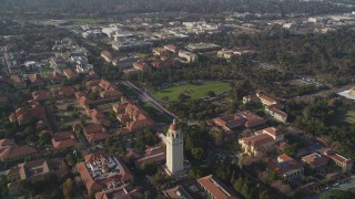 JDC04_022 - 5K stock footage aerial video of Stanford University Medical Center, Hoover Tower, Stanford University, California