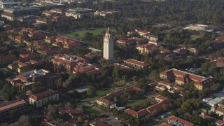 JDC04_026 - 5K stock footage aerial video of approaching Hoover Tower at Stanford University, Stanford, California