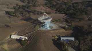 JDC04_027 - 5K stock footage aerial video tilt to reveal The Dish radio telescope satellite dish, Stanford Foothills, California