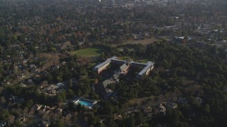 JDC04_031 - 5K stock footage aerial video of flying by Saint Patrick Seminary, Menlo Park, California