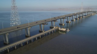 JDC04_033 - 5K stock footage aerial video of flying by Dumbarton Bridge spanning the San Francisco Bay, Menlo Park, California