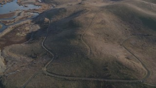 JDC04_037 - 5K stock footage aerial video of flying away from hills, marshland, Union City, California