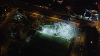 LD01_0003 - 5K stock footage aerial video of a skate park at night in Hawthorne, California
