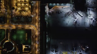 LD01_0012 - 5K stock footage aerial video of LAX (Los Angeles International Airport), California at night