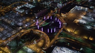 LD01_0015 - 5K stock footage aerial video of entrance to LAX (Los Angeles International Airport), California at night