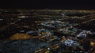 LD01_0016 - 5K stock footage aerial video track a passenger jet landing at night, LAX (Los Angeles International Airport), California