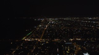 LD01_0023 - 5K stock footage aerial video of Venice, California at night