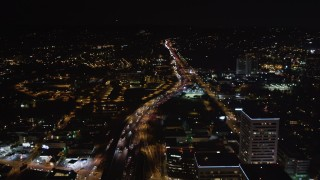 LD01_0048 - 5K stock footage aerial video of the 405 freeway at night in West Los Angeles, California