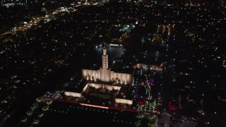LD01_0051 - 5K stock footage aerial video orbit Los Angeles California Temple in Westwood, California at night
