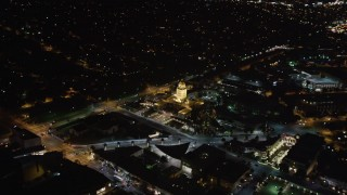 LD01_0058 - 5K stock footage aerial video approach the Beverly Hills Police Department building at night, California