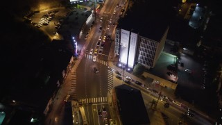 LD01_0064 - 5K stock footage aerial video bird's eye of light traffic on the Sunset Strip at night, West Hollywood, California