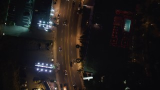 LD01_0065 - 5K stock footage aerial video of bird's eye of the Sunset Strip, West Hollywood, California