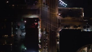 LD01_0067 - 5K stock footage aerial video bird's eye of cars and streets on the Sunset Strip, West Hollywood, California