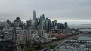 PP0002_000002 - 5.7K stock footage aerial video of the city skyline seen from South of Market, Downtown San Francisco, California