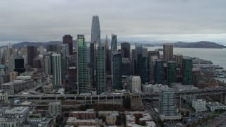 PP0002_000010 - 5.7K stock footage aerial video reverse view of skyscrapers in city's skyline, Downtown San Francisco, California