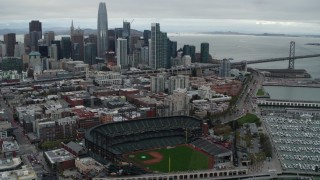 PP0002_000014 - 5.7K stock footage aerial video of AT&T Park, with city skyline in background, Downtown San Francisco, California