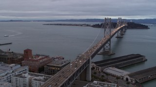 PP0002_000021 - 5.7K stock footage aerial video pan from Bay Bridge to reveal skyscrapers in South of Market and Downtown San Francisco, California