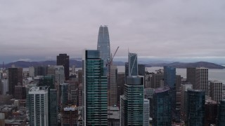 PP0002_000023 - 5.7K stock footage aerial video of Salesforce Tower behind two skyscrapers in South of Market, Downtown San Francisco, California