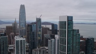PP0002_000026 - 5.7K stock footage aerial video of downtown skyscrapers seen from South of Market, Downtown San Francisco, California