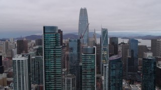 PP0002_000027 - 5.7K stock footage aerial video flying by South of Market skyscrapers with view of Salesforce Tower, Downtown San Francisco, California
