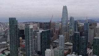 PP0002_000029 - 5.7K stock footage aerial video of Salesforce Tower and surrounding skyscrapers in Downtown San Francisco, California