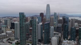 PP0002_000030 - 5.7K stock footage aerial video of Salesforce Tower and South of Market skyscrapers in Downtown San Francisco, California