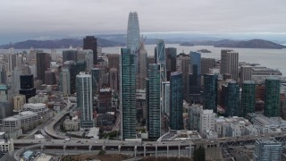 PP0002_000031 - 5.7K stock footage aerial video of a view of Salesforce Tower, South of Market skyscrapers in Downtown San Francisco, California