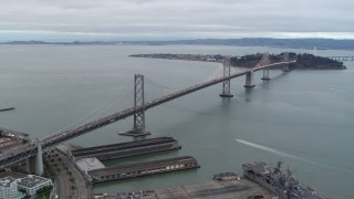 PP0002_000032 - 5.7K stock footage aerial video stationary view of the Bay Bridge, pan across the bay, San Francisco, California
