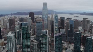 PP0002_000034 - 5.7K stock footage aerial video of Salesforce Tower at the center of skyscrapers, Downtown San Francisco, California