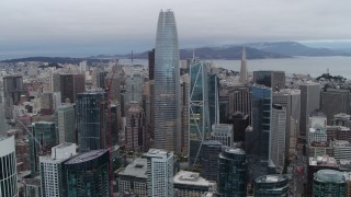PP0002_000035 - 5.7K stock footage aerial video of Salesforce Tower skyscraper and high-rises in Downtown San Francisco, California