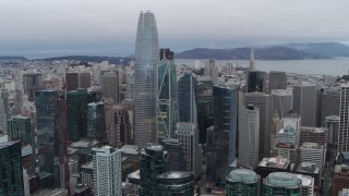 PP0002_000036 - 5.7K stock footage aerial video of a view of Salesforce Tower skyscraper and high-rises in Downtown San Francisco, California