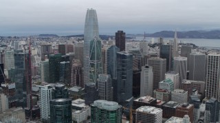 PP0002_000037 - 5.7K stock footage aerial video of Salesforce Tower skyscraper at the center of high-rises in Downtown San Francisco, California