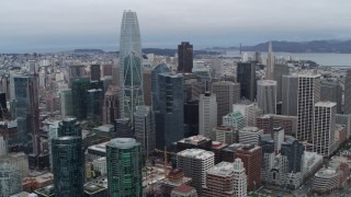 PP0002_000038 - 5.7K stock footage aerial video of Salesforce Tower skyscraper behind high-rises in Downtown San Francisco, California