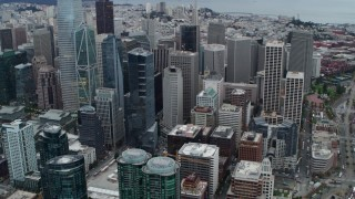 PP0002_000042 - 5.7K stock footage aerial video tilt from Bay Bridge to reveal skyscrapers in Downtown San Francisco, California