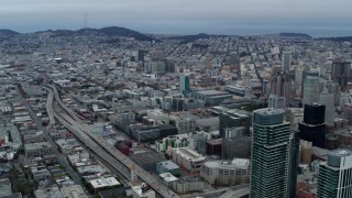 PP0002_000045 - 5.7K stock footage aerial video pan from the expanse of the city to skyscrapers, Downtown San Francisco, California