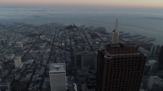 PP0002_000059 - 5.7K stock footage aerial video of Coit Tower and top of Transamerica Pyramid at sunrise in North Beach, San Francisco, California