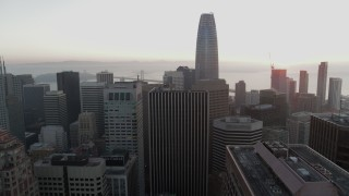 PP0002_000063 - 5.7K stock footage aerial video of descend near skyscrapers with view of Salesforce Tower in Downtown San Francisco, California